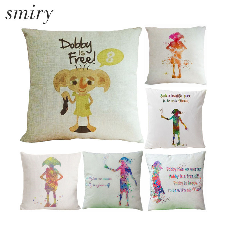 Throw Pillow Cover Pattern With Zipper : Harry Potter Dobby Pattern Cotton linen Cushion Cover Cartoon image Pillow Cover Invisible ...