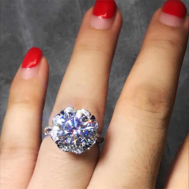 Choucong сердце Форма 100% Настоящее кольцо стерлингового серебра 925 1ct AAAAA Циркон Обручение обручальное Кольца для Для женщин Мужчины ювелирные изделия
