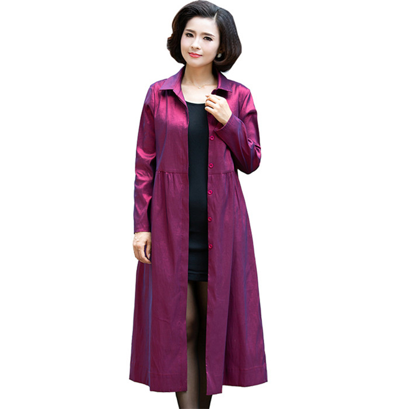 High quality Fashion Thin   Trench   Coat Middle aged Women Casual Tops Large size Loose Female Long sleeve Long Windbreaker A2669