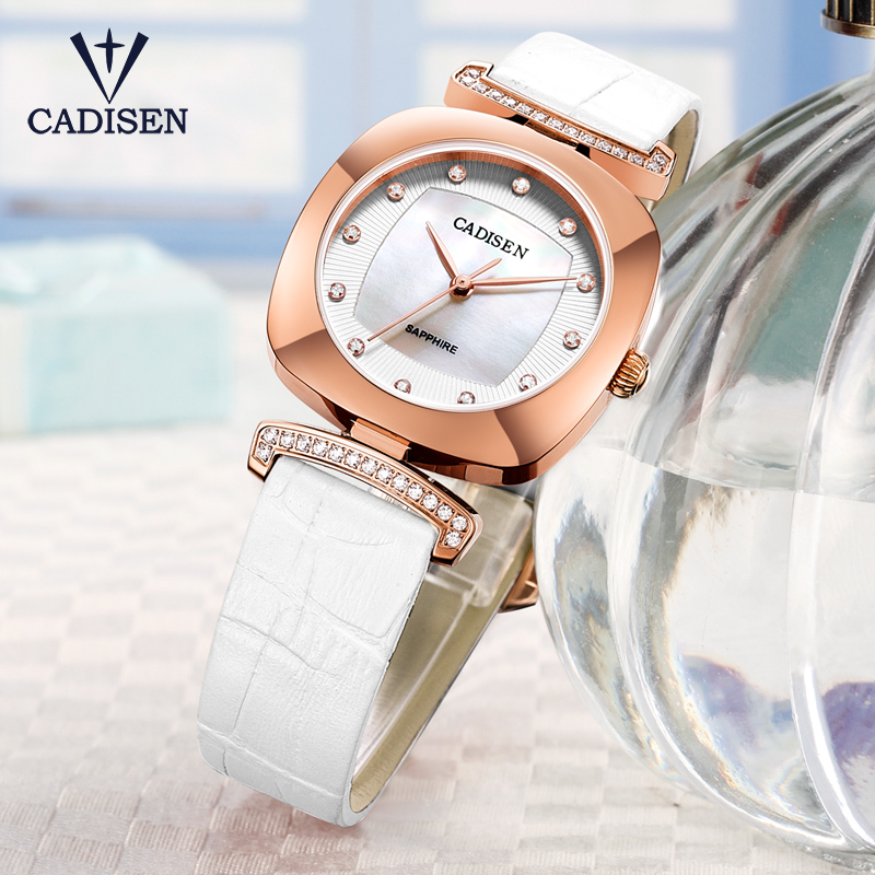 2017CADISEN Deluxe brand  woman Watch Pink Casual Quartz Watch-Genuine Leather Clock Relojes Mujer Womens