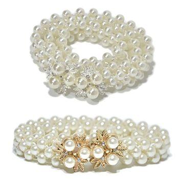 70x2cm Thin Faux Pearls Waistband Bridal Wedding Sash With Metal Alloy Flower Rhinestone Decor Bukle Waist Belt Chain Gold/Silve Bridal Blets