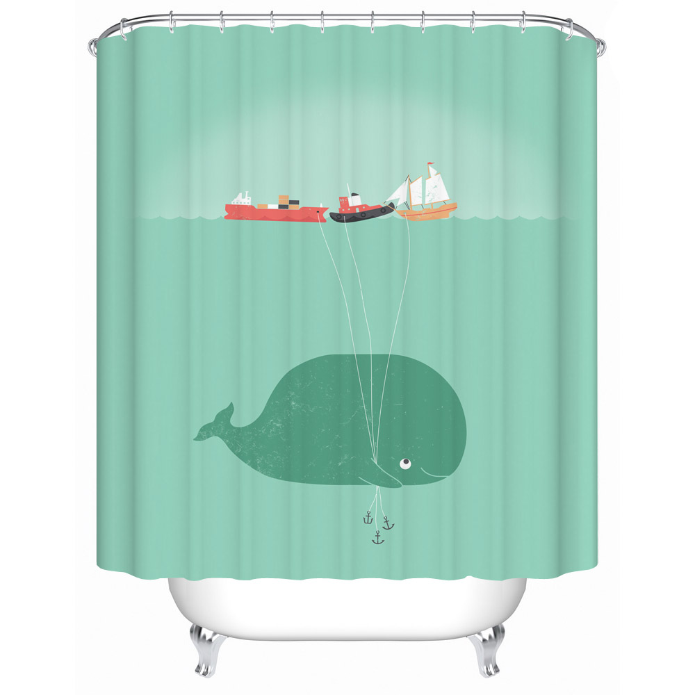 Whale shower curtain - 2016 New Naughty Cute Whale Waterproof Shower Curtain Bathroom Curtain Eco Friendly Bathroom Products Shower