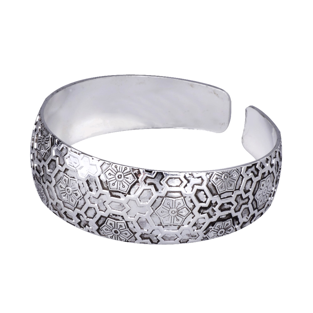 MYTHIC AGE Exotic Asian Flower Metal Tibetan Silver Color vintage retro Fashion Cuff Bangle Bracelet regalo para ella