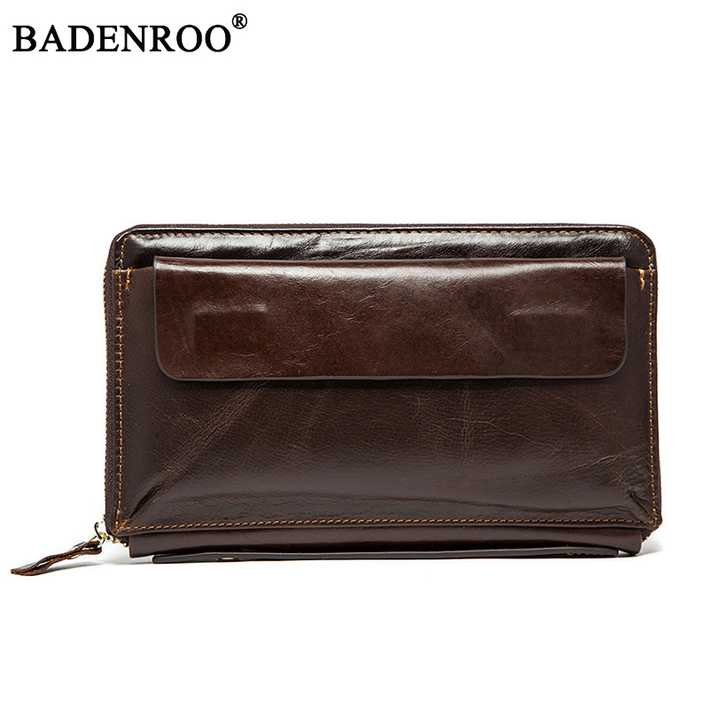 2018 New Genuine Leather Men's Wallet Retro High-Capacity Multi-Card Business Cltuch Bags Male Mobile Phone Handy Bag Wallets 2016 famous brand new men business brown black clutch wallets bags male real leather high capacity long wallet purses handy bags