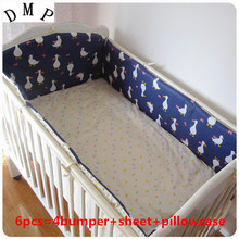 Promotion! 6pcs Cartoon Kids Baby Crib Bedding Sets for Girl and Boys Cotton Children ,include (bumper+sheet+pillow cover)