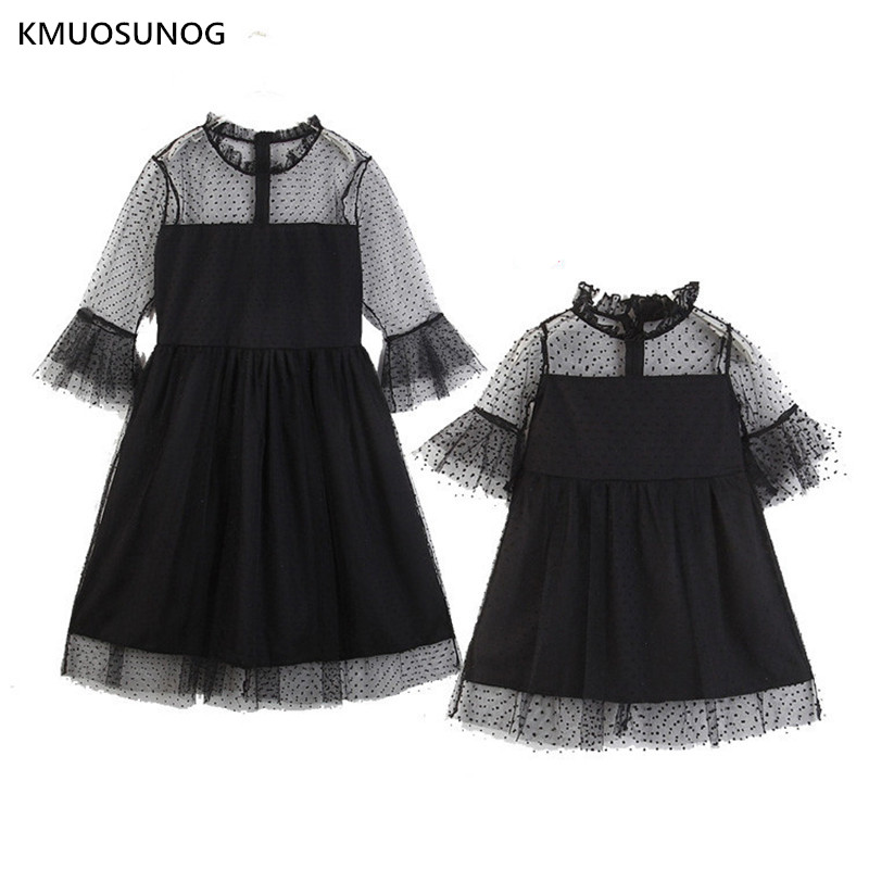 Family Matching Mother Daughter Dress Spring summer party and Black Lace Dresses Look dress C0247