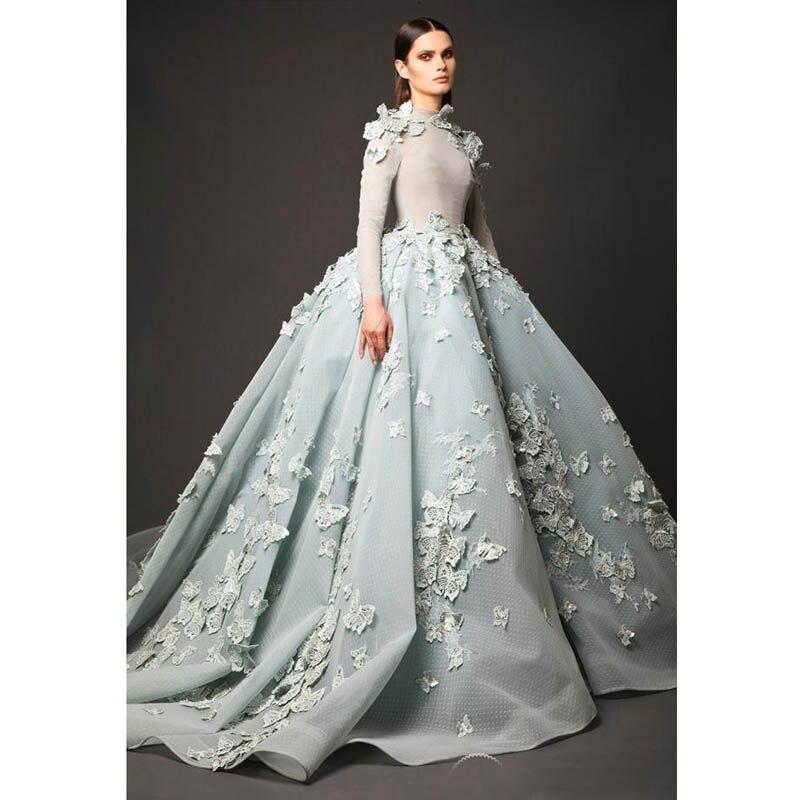 Vestido De Noche 2017 Árabe Cuello Alto vestido de Bola de Luz Azul Vestidos de