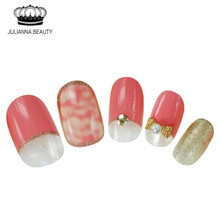 20Pcs/set Nail Stickers Bride Nail False Finished Manicure Press On Fake Nails Lovely With Rhinestone Faux Ongels For Women