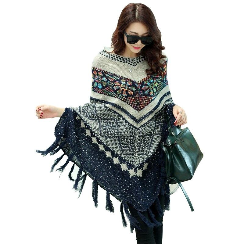 Fashion Knit Poncho Designer Brand Luxury Women Large Size Loose Scarves Cape Cloak For Women Bat Pullover Sweater Coat Shawl