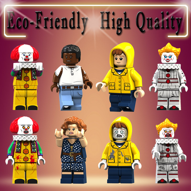 Halloween Horror Movie Pennywise Clown George Beverly Chosen Jacobs Action Figures Bricks Building Blocks Toys For Children