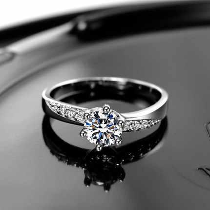 Geld Verliezen Promotie Best Verkopende 925 Sterling Zilver Zirkoonkristal Anti-Allergie Ladies'wedding Ringen Sieraden Gift