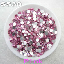 288pcs pack Non hotfix SS30 6 4 6 6mm pink Lt rose Color Glue on Flat