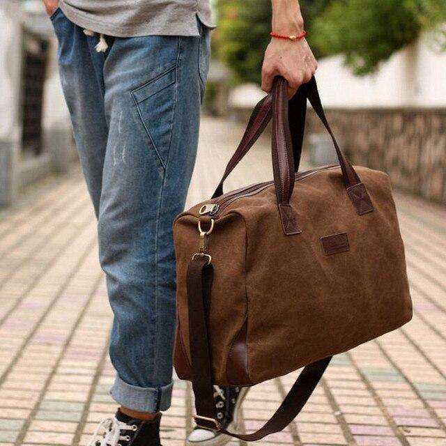 Vintage Canvas + Leather Men Fashion Travel Bags Luggage Bag Men Duffel Bags Weekend Bag Overnight Tote Large Handbag Men