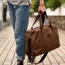 Vintage Leinwand + Leder Männer Mode Reisetaschen Gepäcktasche Männer Reisetaschen Wochenende Tasche Übernachtung Tote Große Handtasche Männer