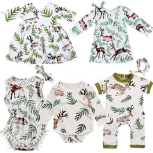 Рождественское платье принцессы для маленьких девочек; платье с оленем и дикой природой; комбинезон с оленем для новорожденных мальчиков и девочек; одинаковые комплекты для семьи