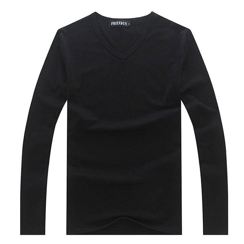 Mężczyźni Odzież Plus Rozmiar S-XXXL Koszulka Męska Casual Cotton tshirt solidna Długim Rękawem T Koszula Mężczyzna V szyi Nakrywa Trójniki camiseta