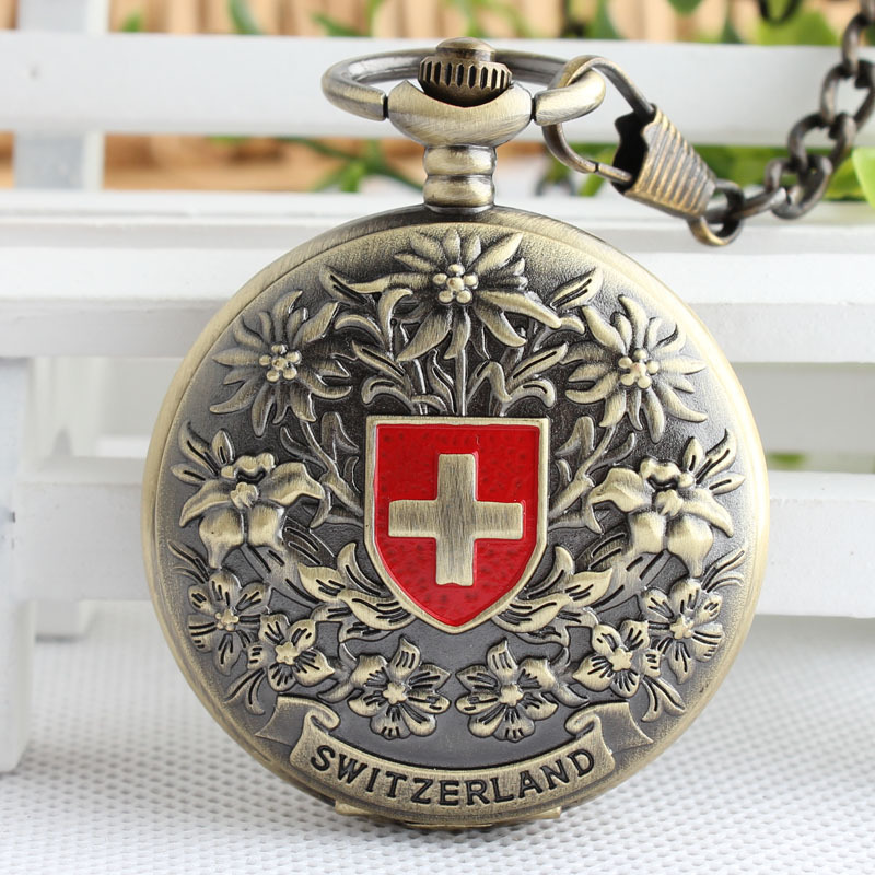 Bronze Antique Mechanical Pocket Watch Retro Swiss Red Cross Classic Men's and Women Bronze Tone for Birthday Gift 3XJ054 new fashion switzerland red cross hollow hand wind mechanical pocket watch classic bronze tone gift lxh