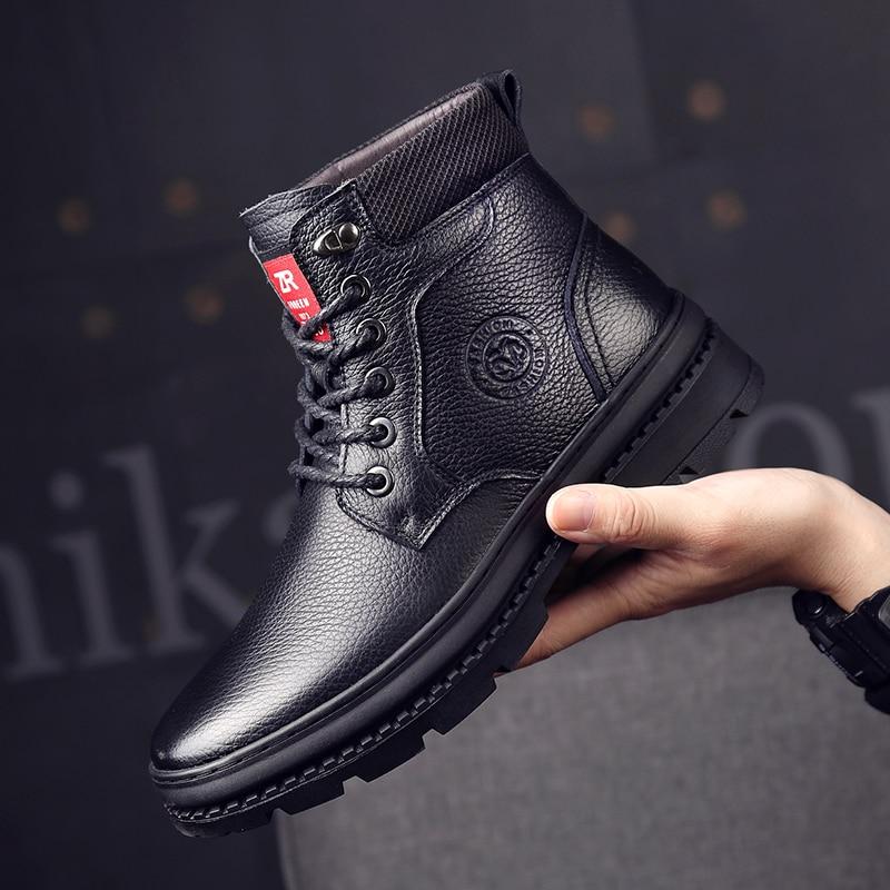 Kh5910bl Occasionnels Cuir Top Cheville Chaussures kh5910br Véritable En Mode Pour Osco Hommes Imperméable Hiver Bottes De High gqZTf