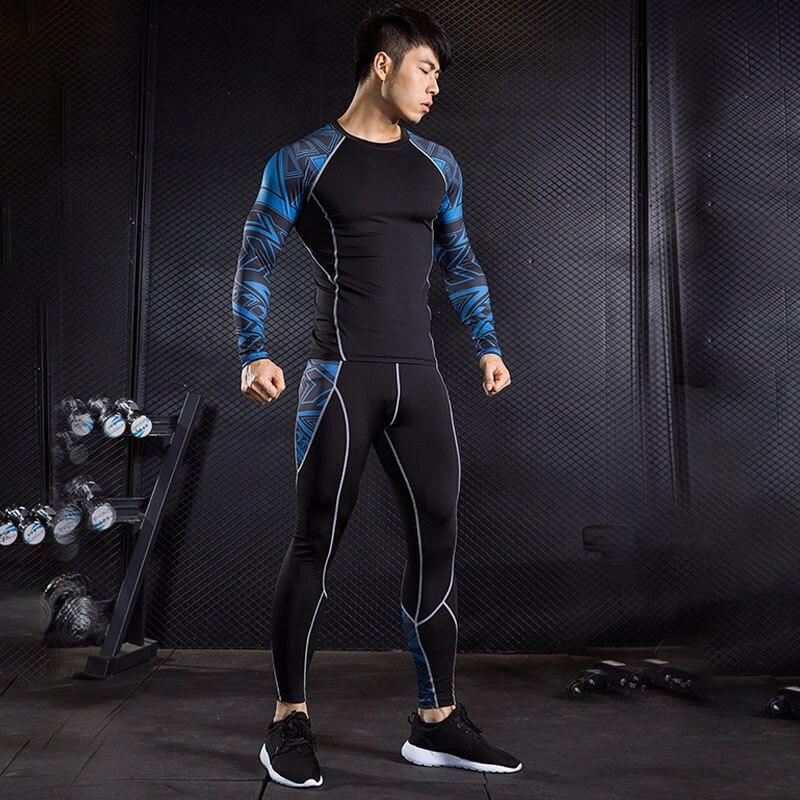 Hot Underwear Men Brand Tracksuit Rash Gard Kit Quick Drying Men Gym Clothes Man Compression Thermal Underwear Set Slim Joggers