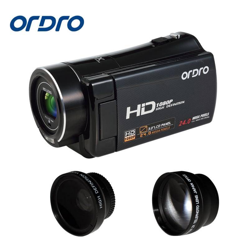 Original Ordro HDV - V7 3 inch 20MP Digital Video Camera 8X Digital Zoom Camcorder 1080P  HD DV Digital Camera LCD Screen portable infrared video camera 1080p hd 16x zoom 3 0 tft lcd digital video camcorder camera dv dvr support for night shooting