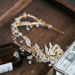Image 4 - Jonnafe Delicate Gold Leaf Women Prom Headpiece Hairband Floral Bridal Tiara Hair Crown Handmade Wedding Headband Accessories