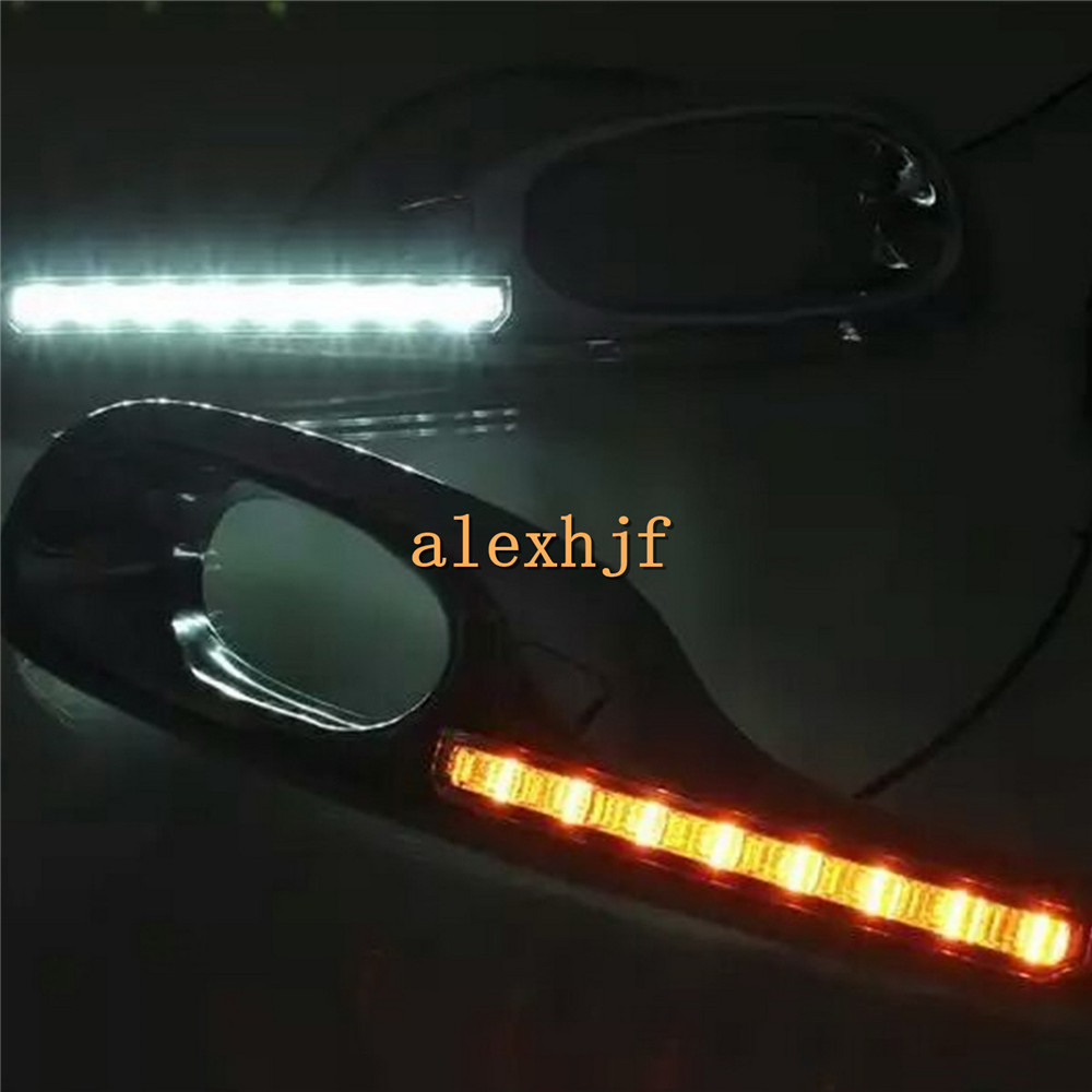July King LED Daytime Running Lights DRL With Yellow Turn Signals case for HONDA FIT / JAZZ 2011~13, LED Front Bumper Fog Lamp july king led daytime running lights drl case for honda crv cr v 2015 2016 led front bumper drl 1 1 replacement