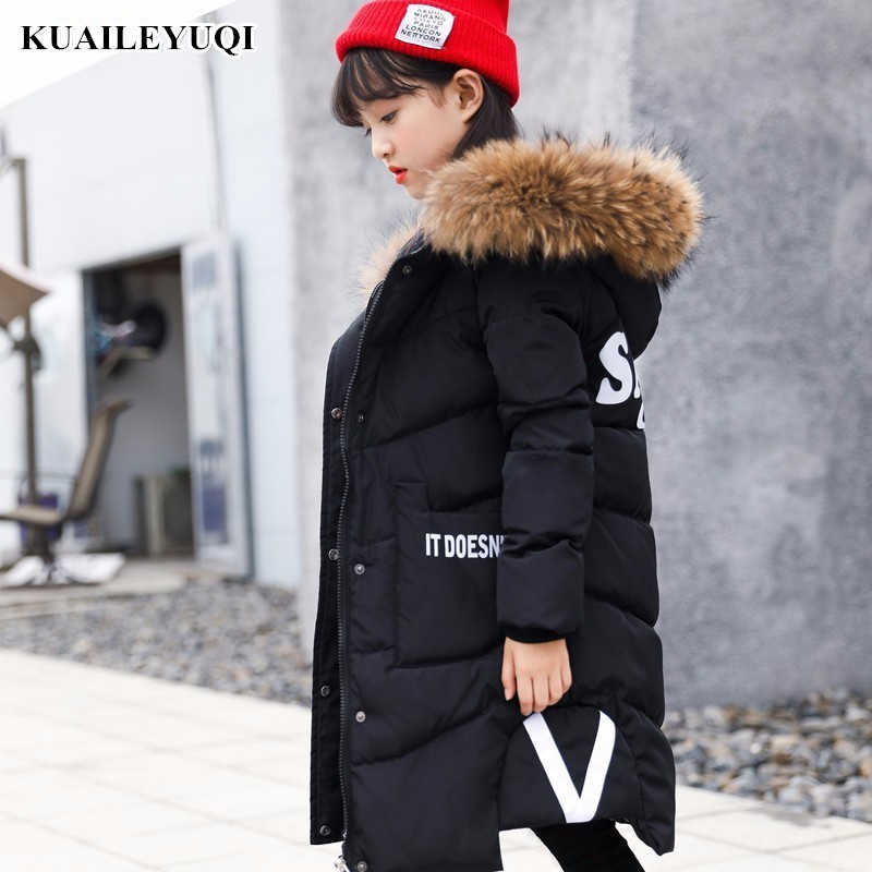 2018 Winter kids coat Down jacket for girl Children Thicken Long warm Child Garment parka Natural fur collar clothes -30 degree 2018 children down coat long hooded winter jacket coat for girl letter patchwork boys winter jacket coat thicken warm kids parka