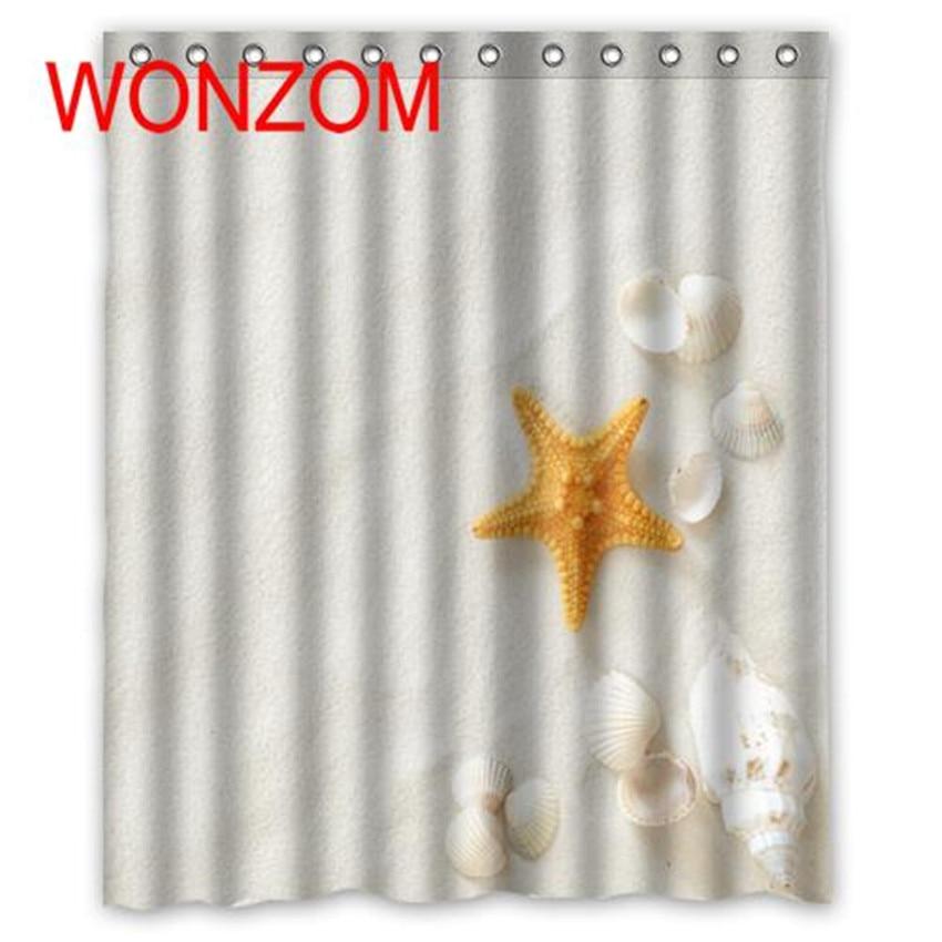 WONZOM Shell Starfish Shower Curtain with 12 Hooks For Bathroom Decor Modern Beach Bath Waterproof Accessories