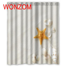 WONZOM Shell Starfish Shower Curtain with 12 Hooks For Bathroom Decor Modern Beach Bath Waterproof Accessories