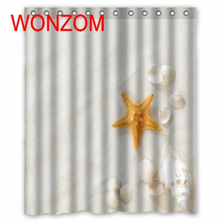 Wonzom قذيفة نجم دش الستار مع 12 خطاف للحمام ديكور الحديثة شاطئ حمام ماء ستارة الحمام