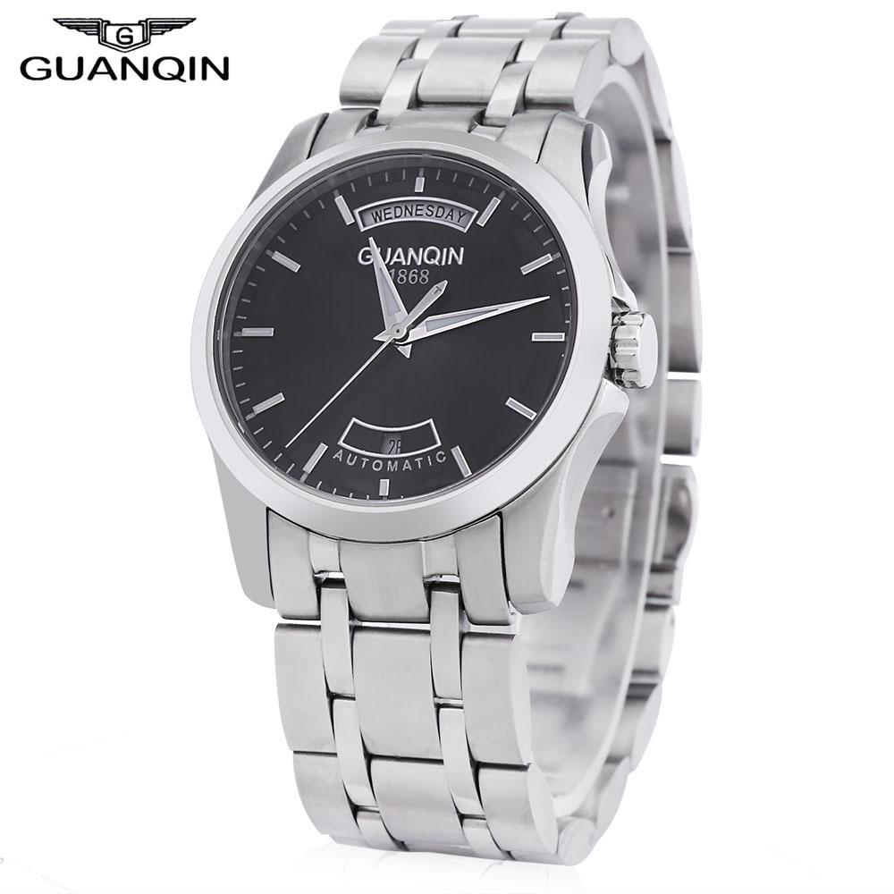 Фотография GUANQIN Men Auto Mechanical Watch Calendar Luminous Pointer Display Water Resistant Transparent Back Cover Wristwatch