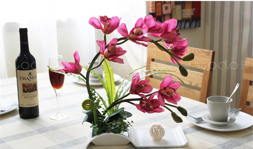 Decorative flowers artificial bonsai with ceramic dish for home decorative flowers artificial bonsai with ceramic dish for home decor artificial flower arrangement silk orchid 6color available in artificial dried mightylinksfo