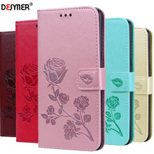 Flip PU Leather Case For Samsung galaxy A10 A30 A40 A50 A60 A70 Wallet Cover Phone 3D Relief Rose