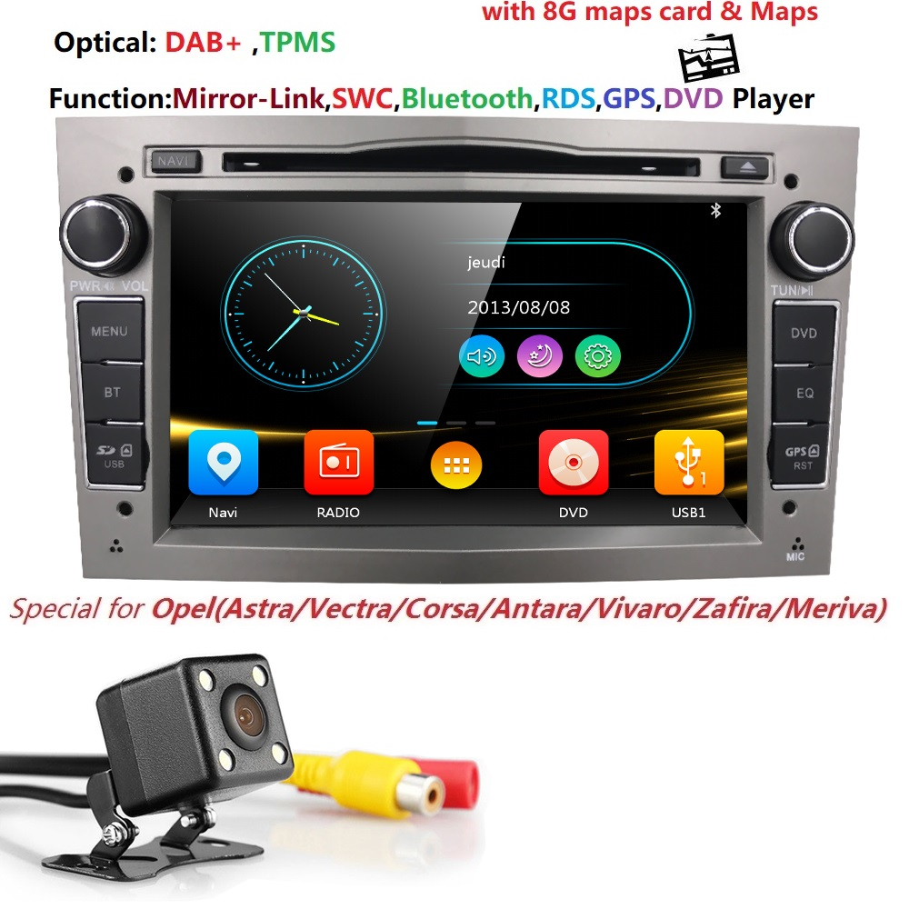 2 Дин DVD стерео для Vauxhall Opel Astra H G Vectra Антара Zafira Corsa gps Navi Радио 3 цвета SWC DAB TPMS RDS DVBT CAM