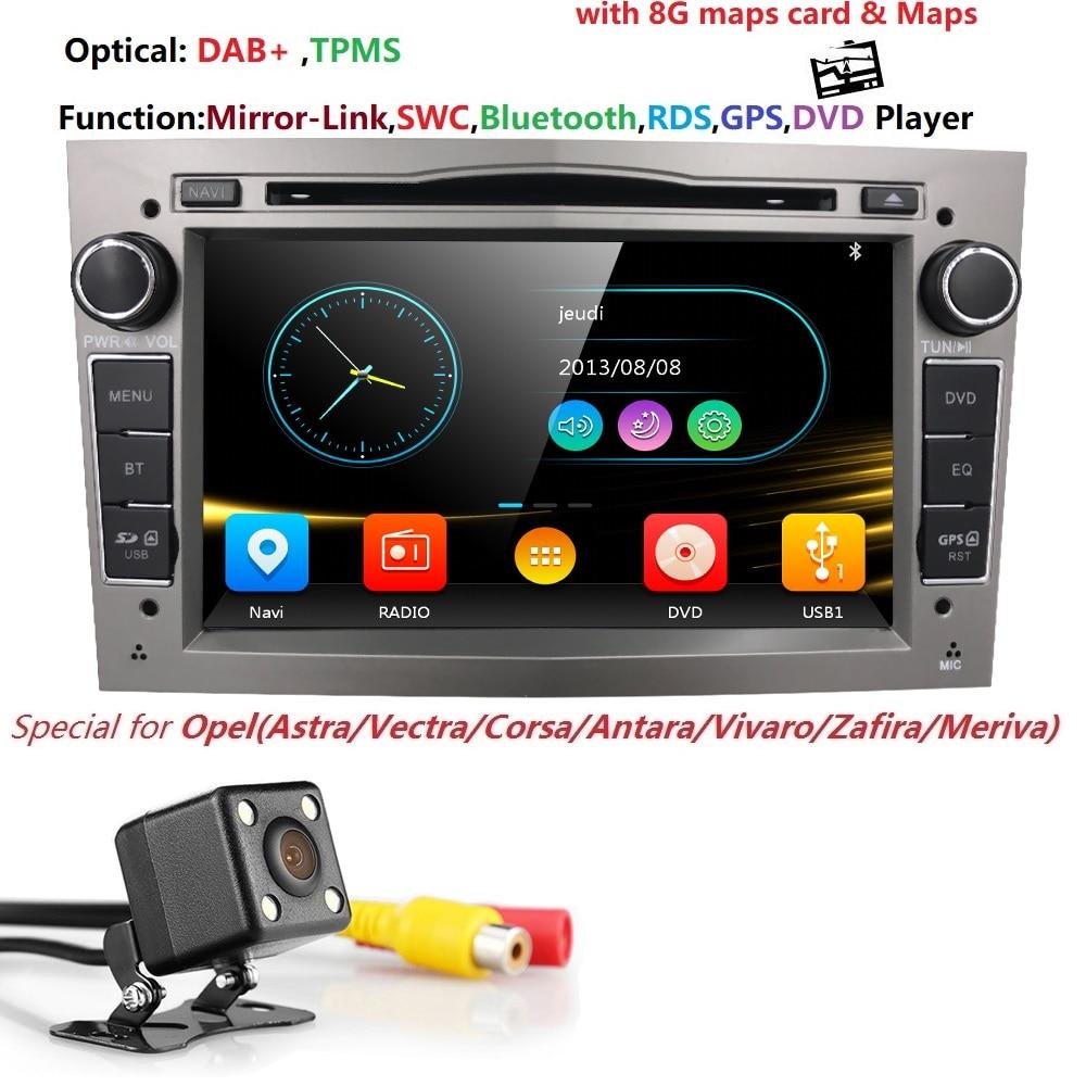 2 din Som Do Carro DVD para Opel Vauxhall Astra H G Vectra Antara Zafira Corsa DVD GPS Navi Rádio 3 cor TPMS RDS DAB DVBT SWC CAM