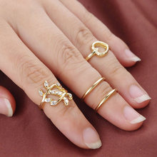 4 pieces/set Leaf Rings Set Crystal Gold Silver Heart Midi Knuckle Ring Open Adjustable Women Rhinestone Mid Finger Jewelry(China)