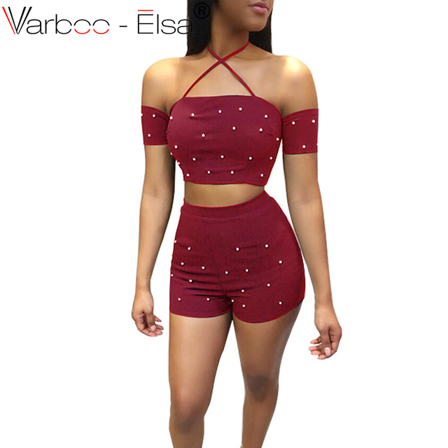 007a0f15a6 Women summer 2 piece sets pearl Mini Skirt Suit Short Tops and Short Skirt  2 Piece Women Set Sexy NightClub Party Suits Skirt