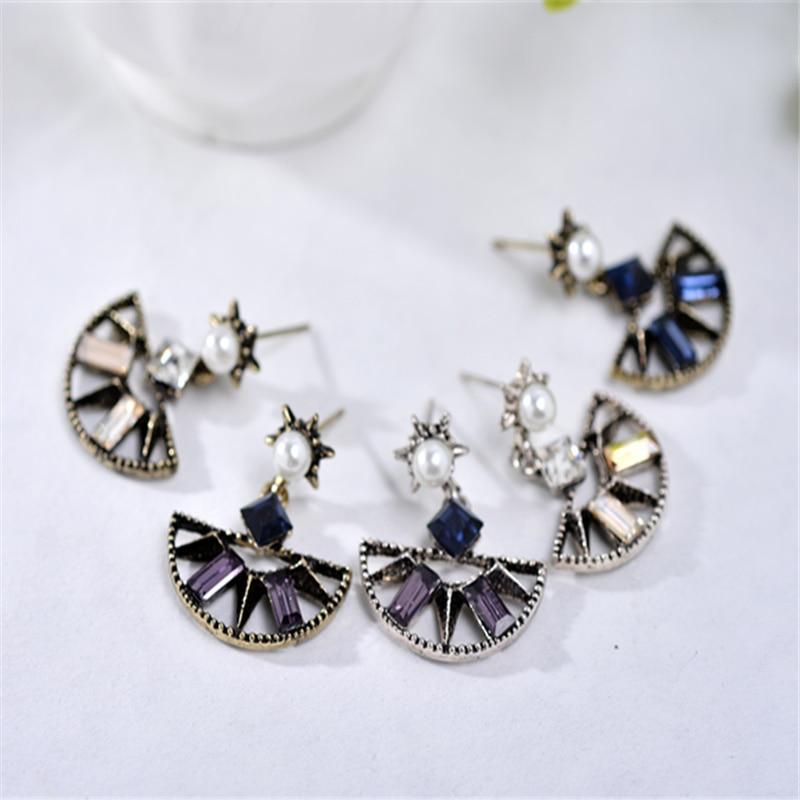 Exotic Semi Circle Pendant Stud Ականջօղեր Գեղեցիկ - Նորաձև զարդեր - Լուսանկար 6