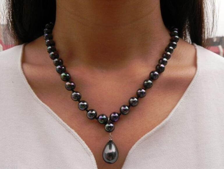 """Woman jewelry necklace 8mm round bead Bright black colors Natural SOUTH SEA SHELL PEARL 12mm pendant NECKLACE 18"""" 45cm"""