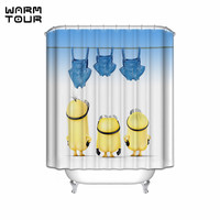 Warm Tour Custom Cute Cartoon Mischievous Minions Series Hang Clothes And Dry Shower Curtain Fabric Waterproof