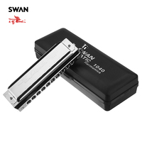 Swan SW1040 5 Rounded Mouthpiece 10 Holes 40 Tones Chromatic Harmonica Switchable Woodwind Musical Instrument Swan Harmonica