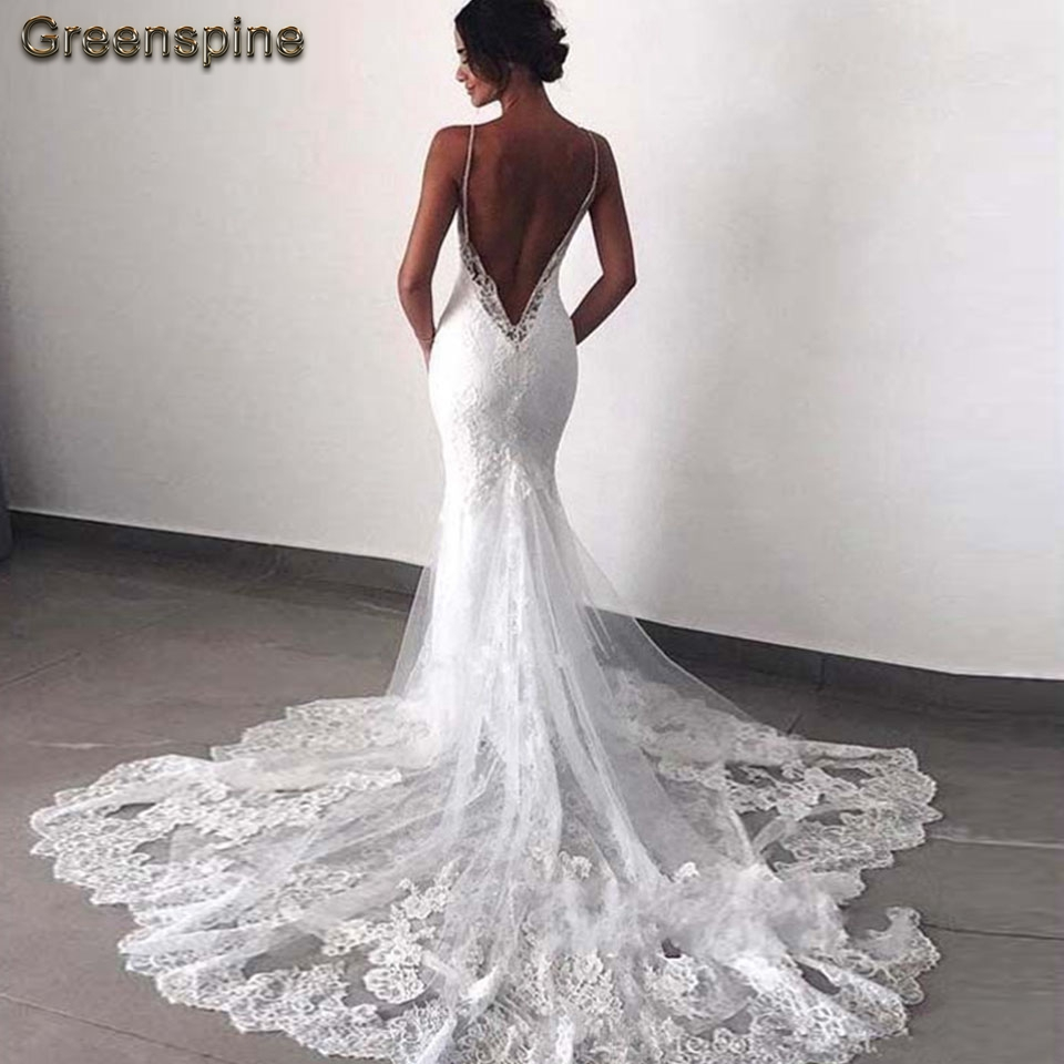Lace Mermaid Wedding Gown With Straps: Greenspine Sexy Mermaid Wedding Dress Vintage Lace Bridal