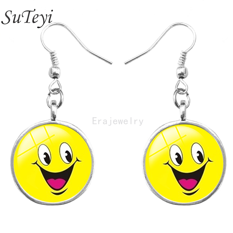 SUTEYI 2017 Wholesale Funny Glass Stud Earrings For Women Cute Smiley Face Earring Girls Emoj Lovely Jewelry Christmas Gift ...