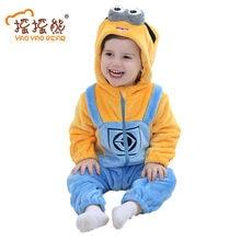 982a08c5449e Одежда для маленьких девочек, Детский комбинезон с животными, костюм для  новорожденных, пижама, зимняя флисовая одежда, теплый к.