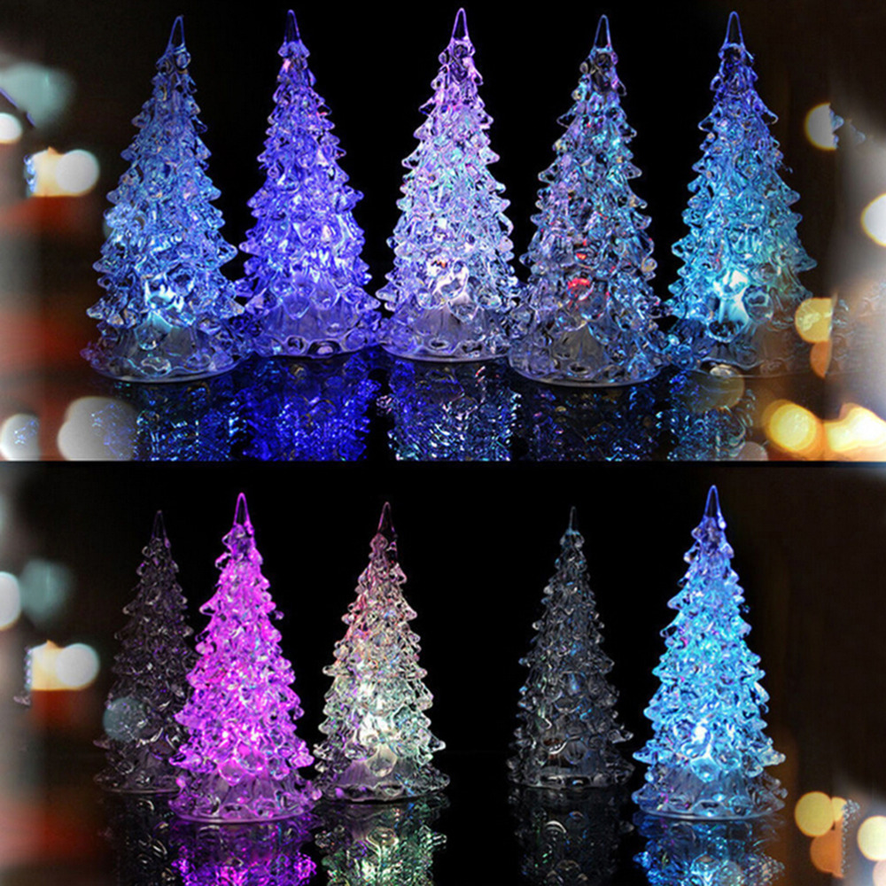 home desk christmas xmas tree led holiday decor miniature color changing crystal led table lamp light baubles decorations in figurines miniatures from