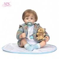 19 Inch Realistic Reborn Babies Silicone Vinyl Body Doll Lifelike Sleeping Babies Boy Boneca Reborn Doll Kits Kids Playmates