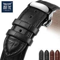 JEAYOU רצועת שעון עור שחור חום גברים ונשים 18 מ