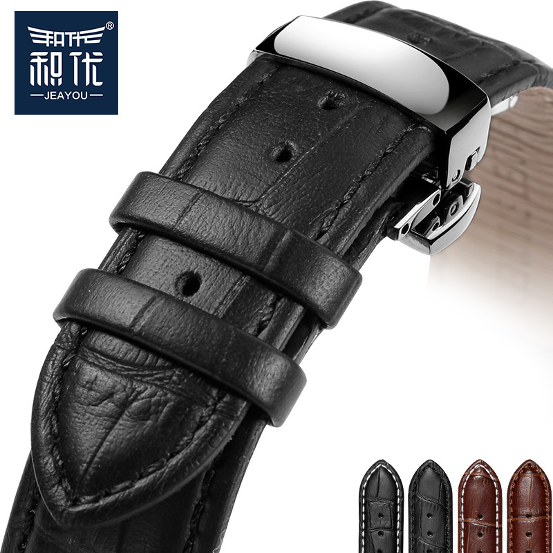 JEAYOU Leather Watch Strap Black Brown For Men and women 18mm 19mm For MIDO Casio Tissot Longines Citizen strap