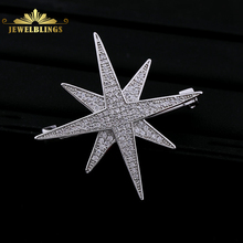 Victorian Large Double Layer Star CZ Brooch Pin Silver Tone Micro Pave CZ Long Six Point Star Burst Statement Broach for Bridal fabulous short tassel drops double yellow bird brooches silver tone micro pave cz green eyes two love birds pins for girlfriend