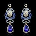 Luxury  Blue Glass Crystal Earrings Long Beautifu Ethnic Vintage Pendant Earrings African Rhinestone Drop Earrings Women